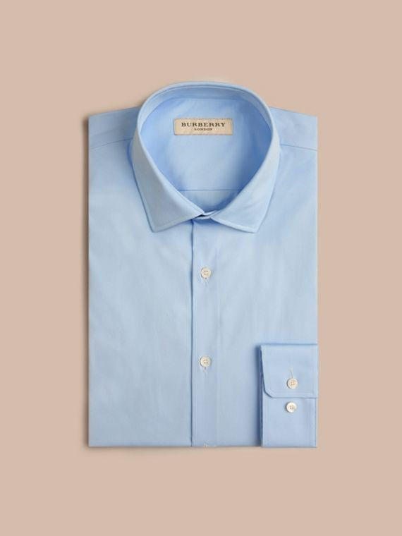 Slim Fit Stretch Cotton Poplin Shirt in City Blue - Men | Burberry