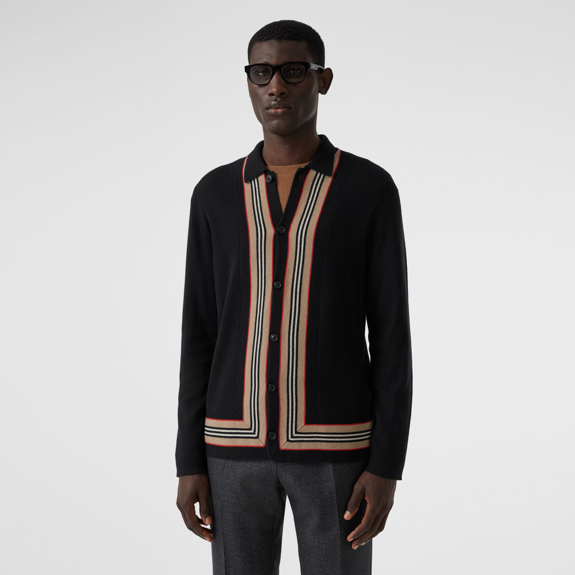 Icon Stripe Trim Wool Cashmere Cardigan in Black - Men | Burberry - gallery image 4