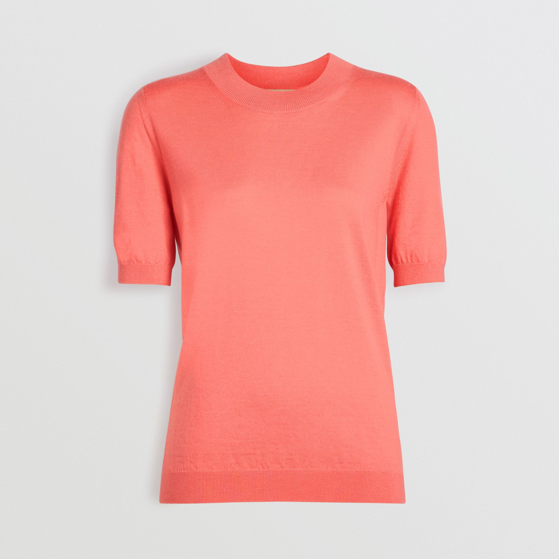 Crew Neck Merino Wool Sweater in Coral - Women | Burberry Singapore - gallery image 3
