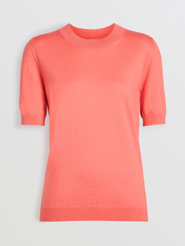 Crew Neck Merino Wool Sweater in Coral - Women | Burberry - cell image 3