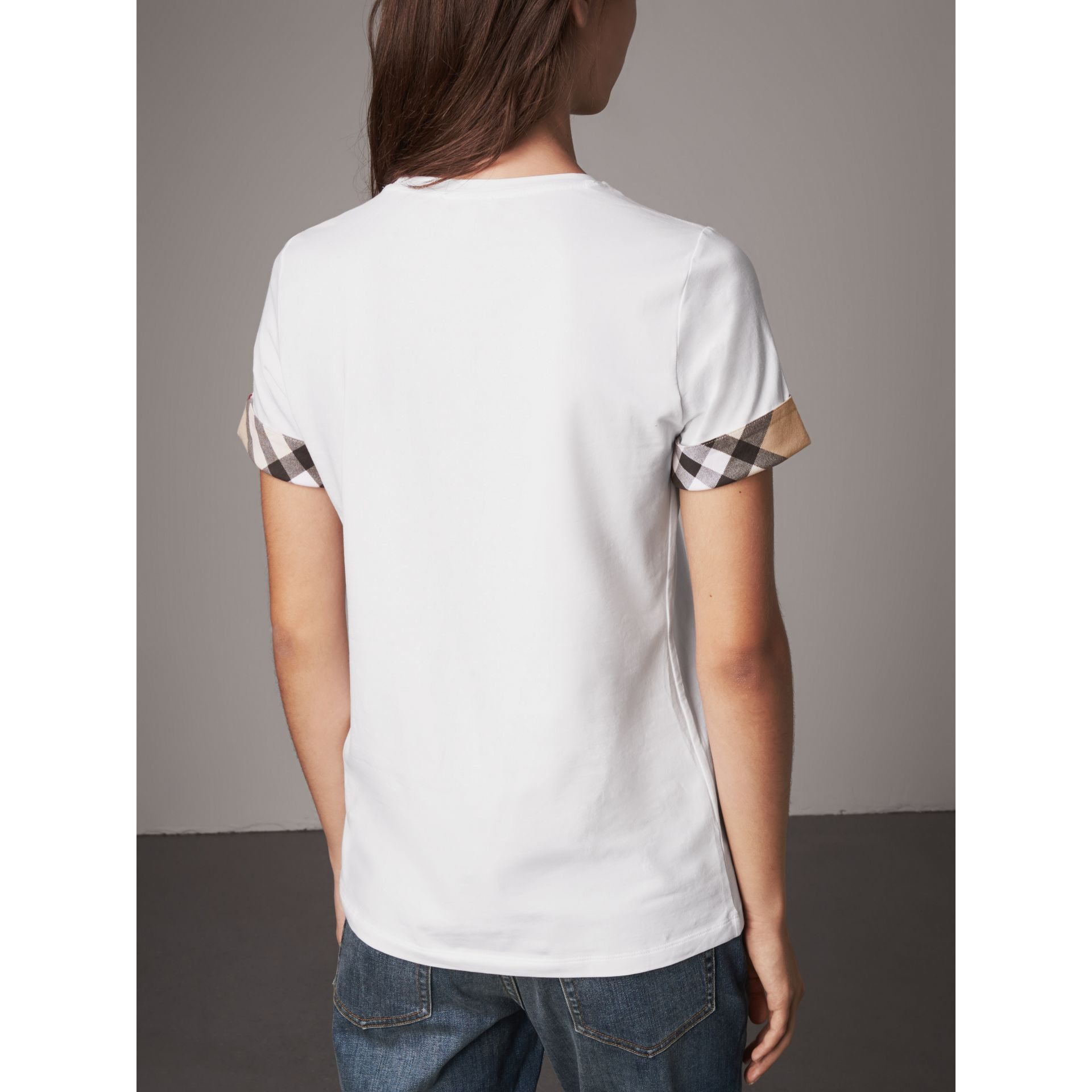 Check Cuff Stretch Cotton T-Shirt in White - Women | Burberry Canada - gallery image 2