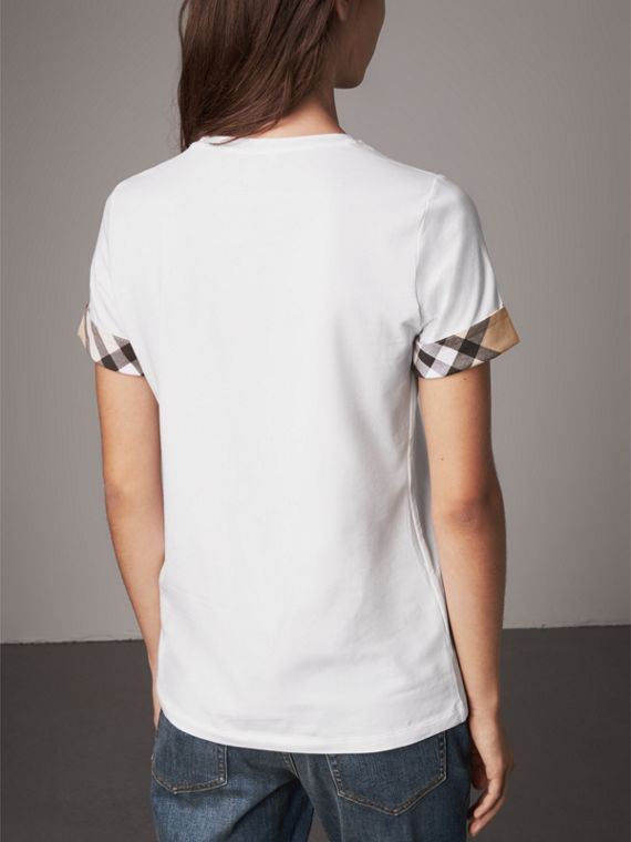 Check Cuff Stretch Cotton T-Shirt in White - Women | Burberry - cell image 2