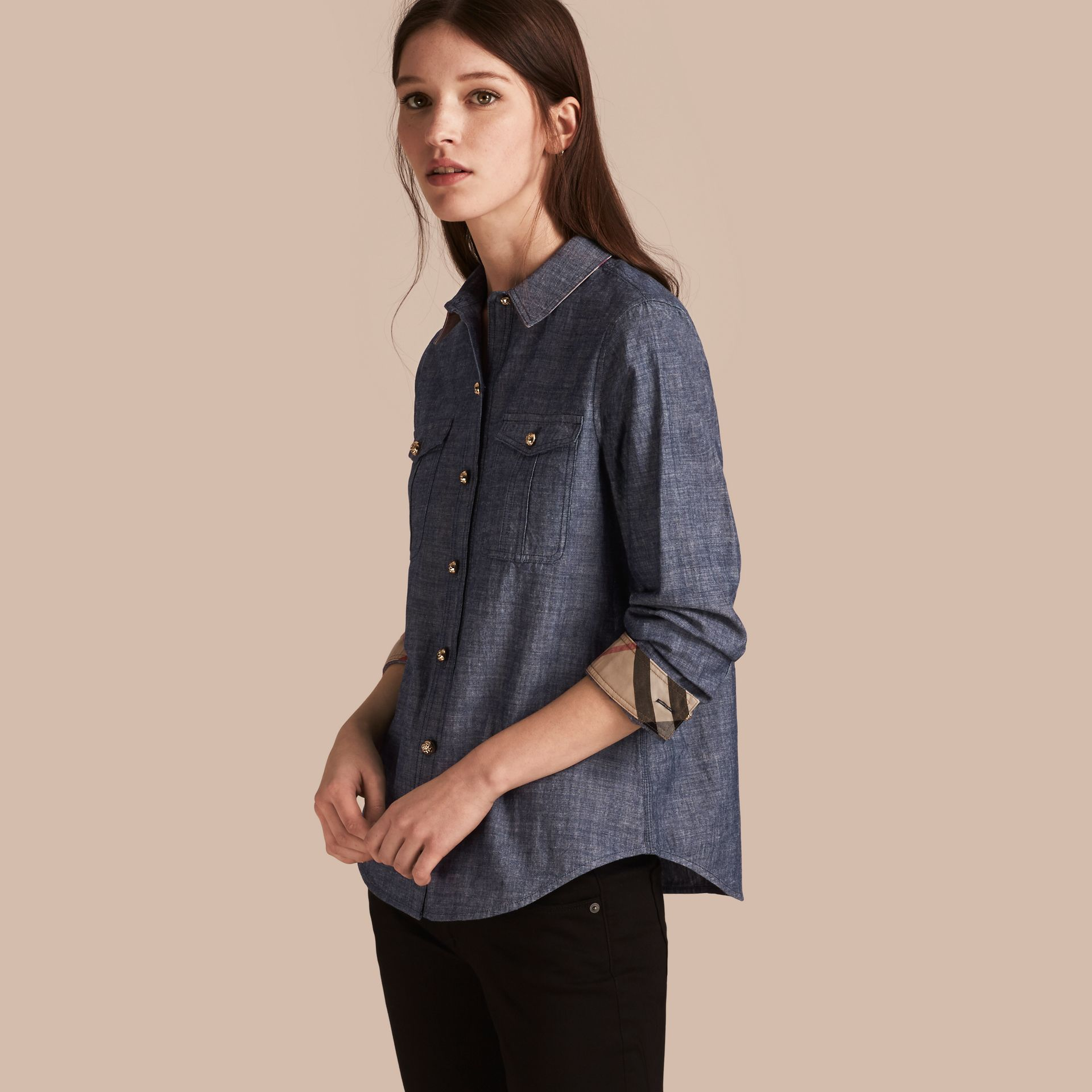 Check Detail Denim Shirt - Women | Burberry - gallery image 1