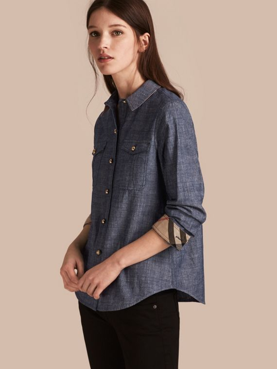 Check Detail Denim Shirt