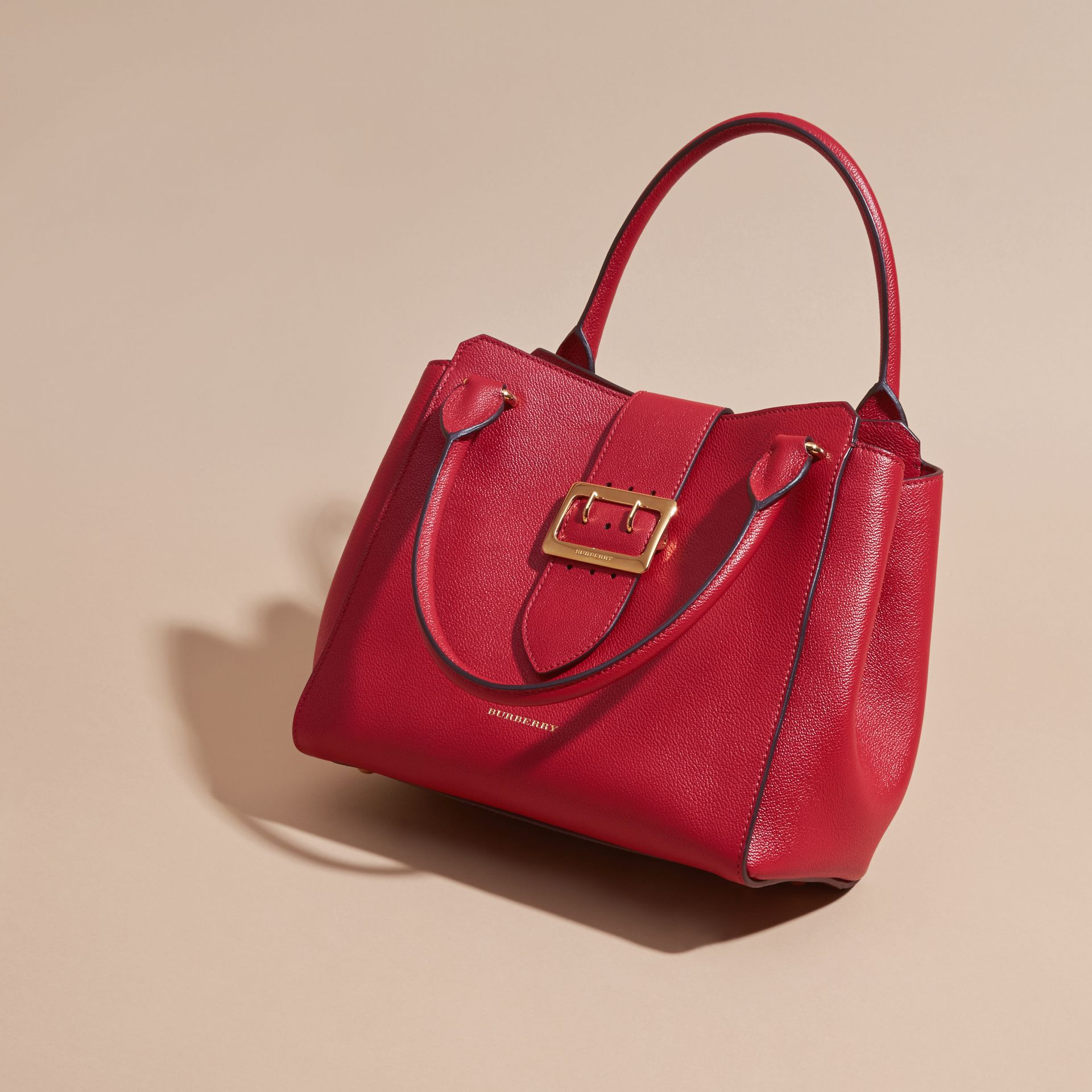 The Medium Buckle Tote in Grainy Leather Parade Red - gallery image 8