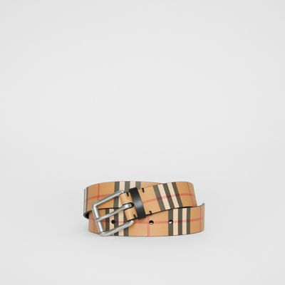 Vintage Check Leather Belt by Burberry