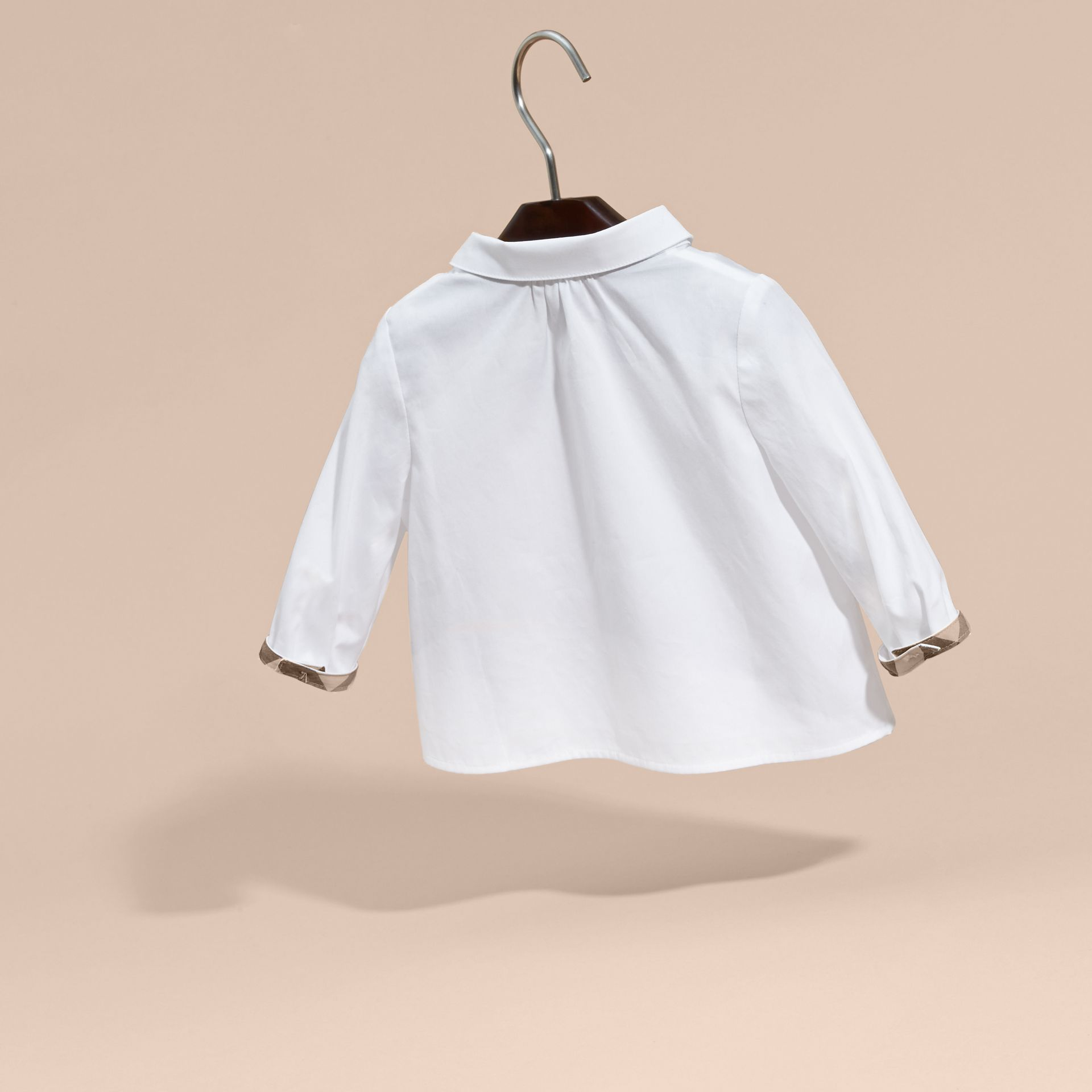 Peter Pan Collar Cotton Shirt in White | Burberry - gallery image 4