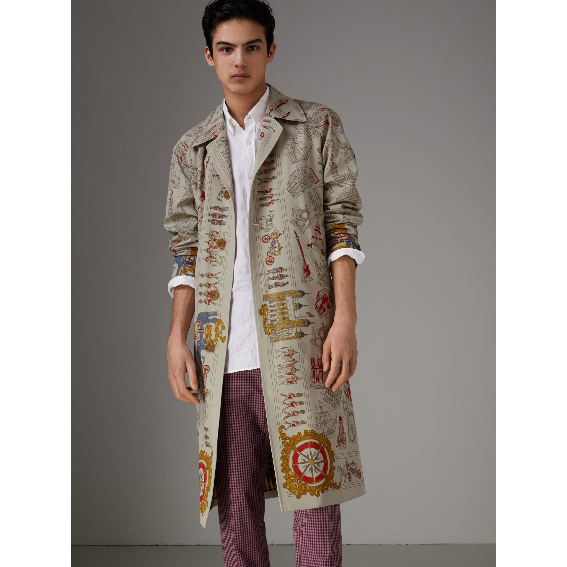 London Sketch Print Car Coat in Stone - Men | Burberry - gallery image 6
