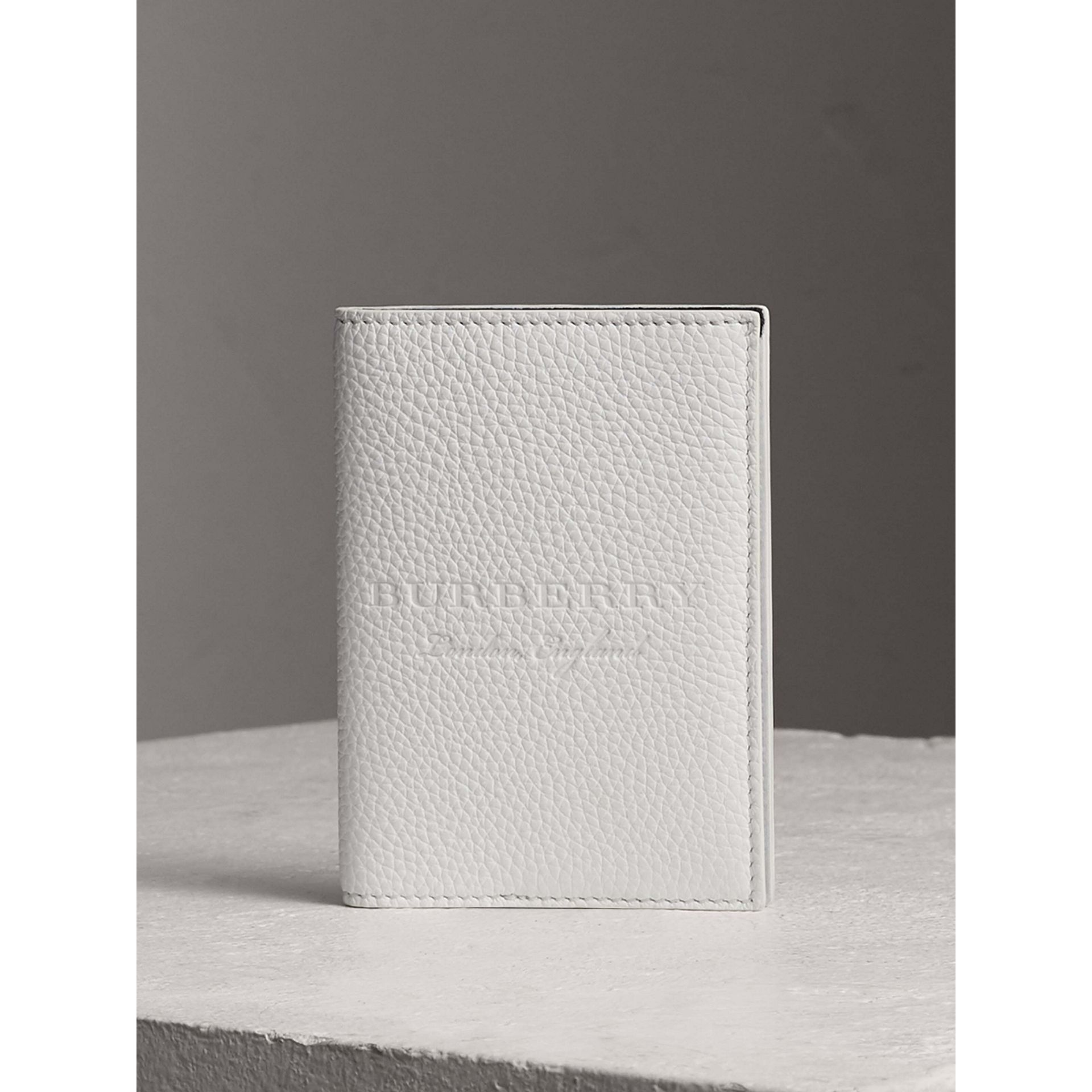 Embossed Leather Passport Holder in Chalk White | Burberry - gallery image 0