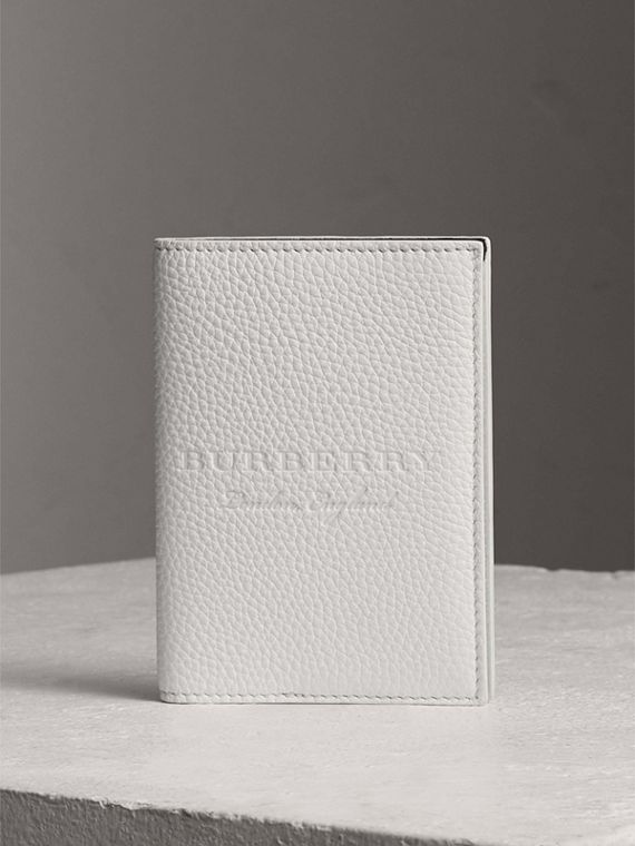 Embossed Leather Passport Holder in Chalk White
