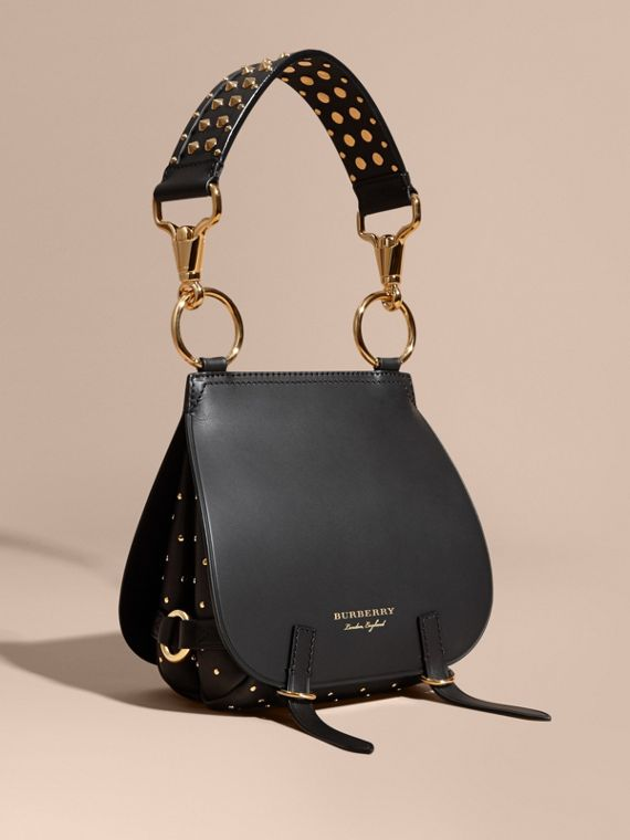 The Bridle Bag in Leather and Rivets in Black - Women | Burberry