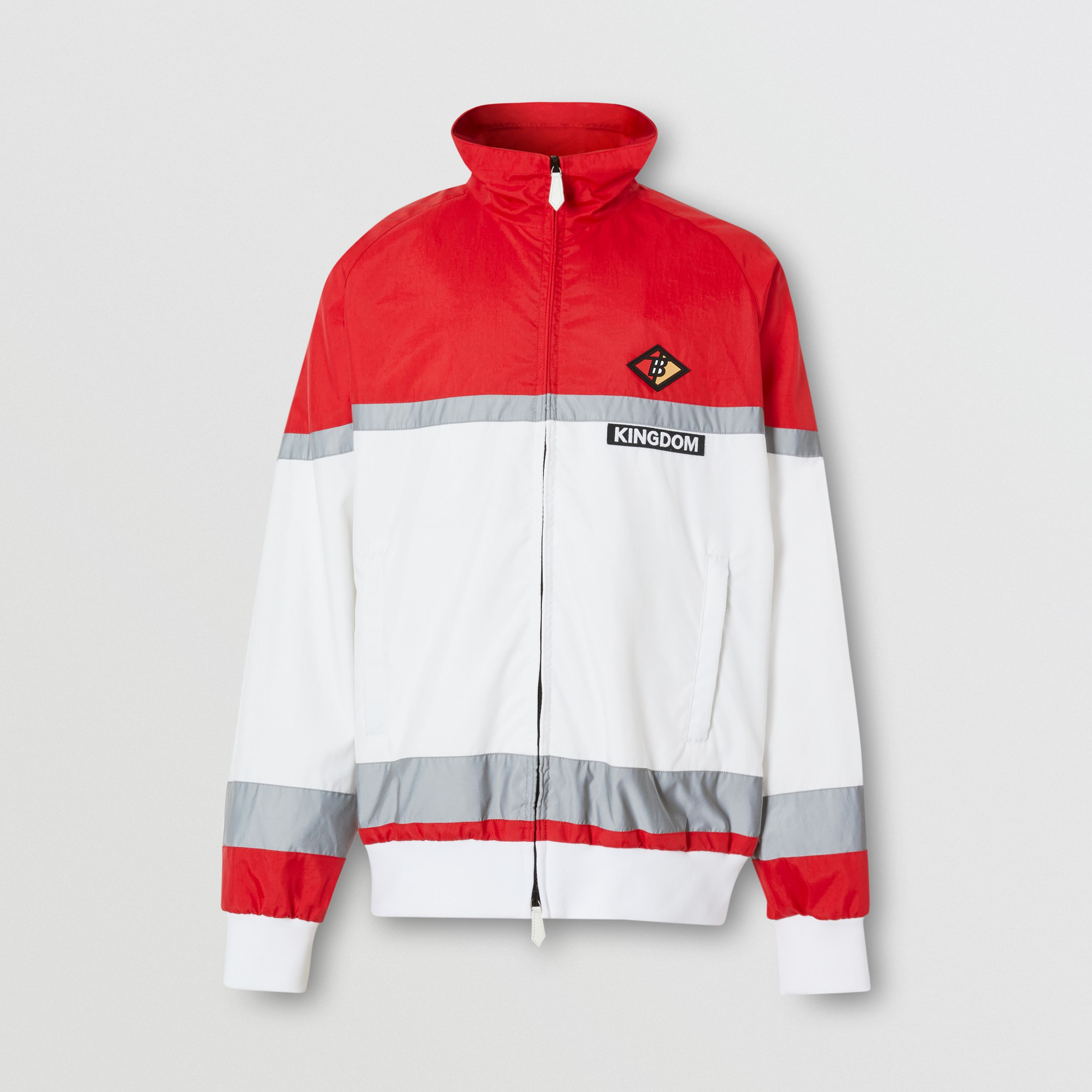 Logo Graphic Striped Nylon Track Top in Bright Red - Men | Burberry - 4