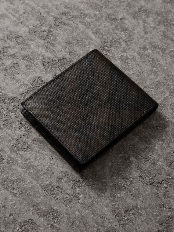 London Check International Bifold Wallet in Chocolate/black - Men | Burberry - cell image 2