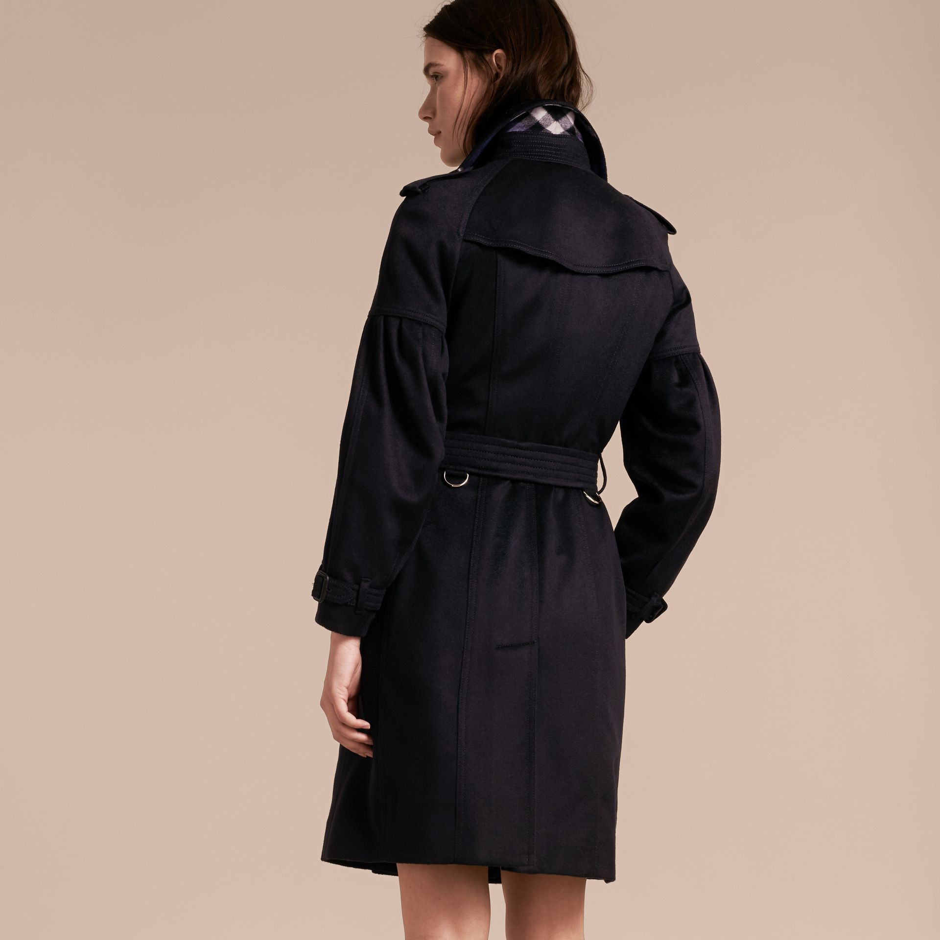 Navy Cashmere Trench Coat with Puff Sleeves Navy - gallery image 3