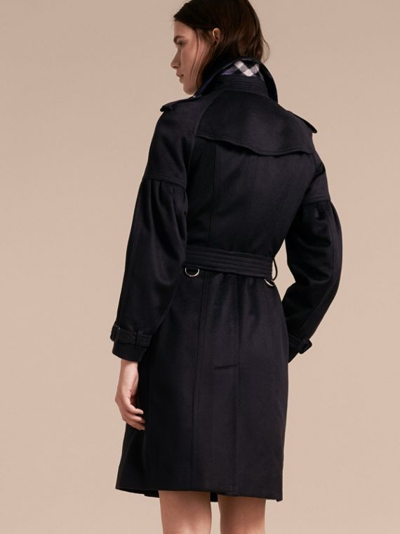 Navy Cashmere Trench Coat with Puff Sleeves Navy - cell image 2