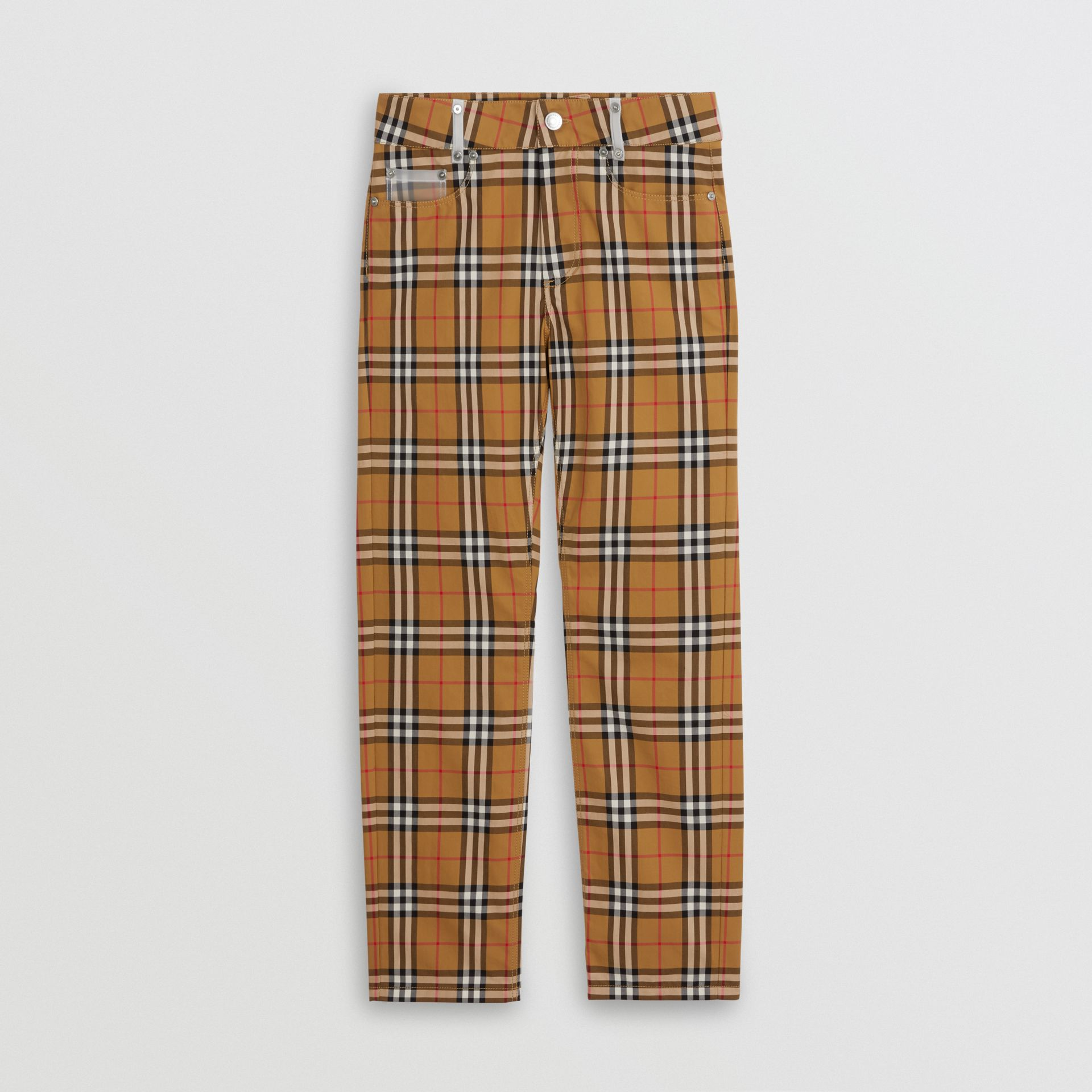 Zip Detail Vintage Check Cotton Trousers in Antique Yellow | Burberry - gallery image 3