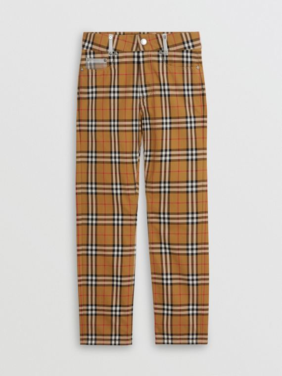 Zip Detail Vintage Check Cotton Trousers in Antique Yellow