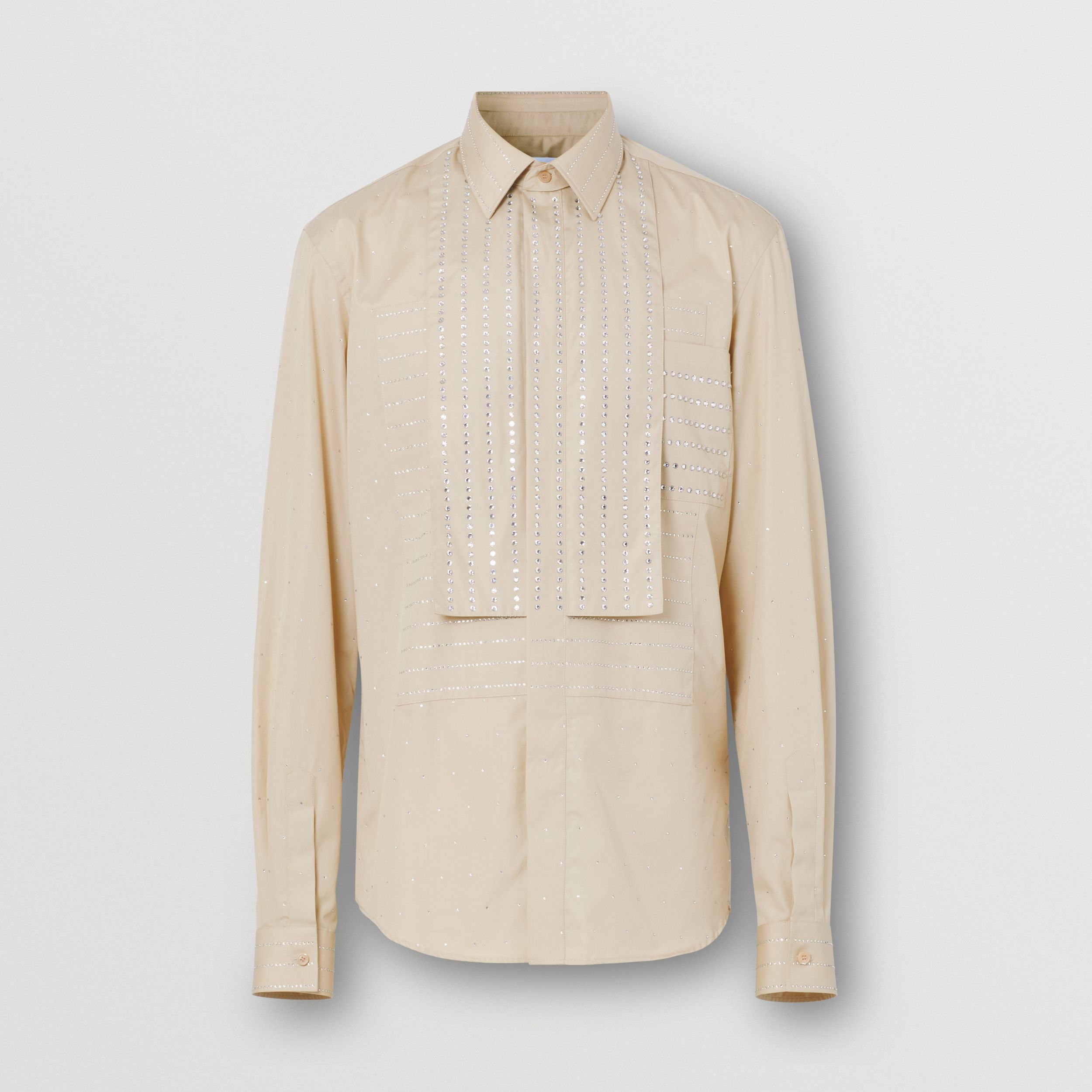 Detachable Collar Crystal Detail Cotton Poplin Shirt in Sesame - Men | Burberry - 4