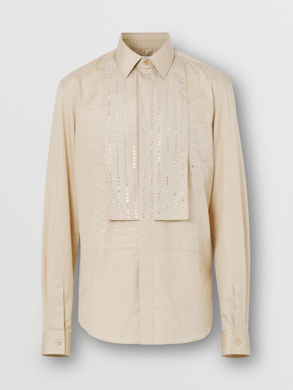Detachable Collar Crystal Detail Cotton Poplin Shirt in Sesame | Burberry - cell image 3