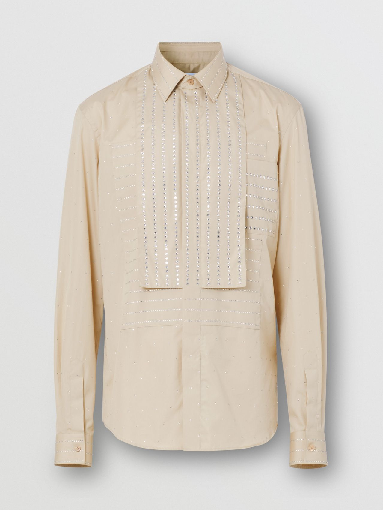 Detachable Collar Crystal Detail Cotton Poplin Shirt in Sesame