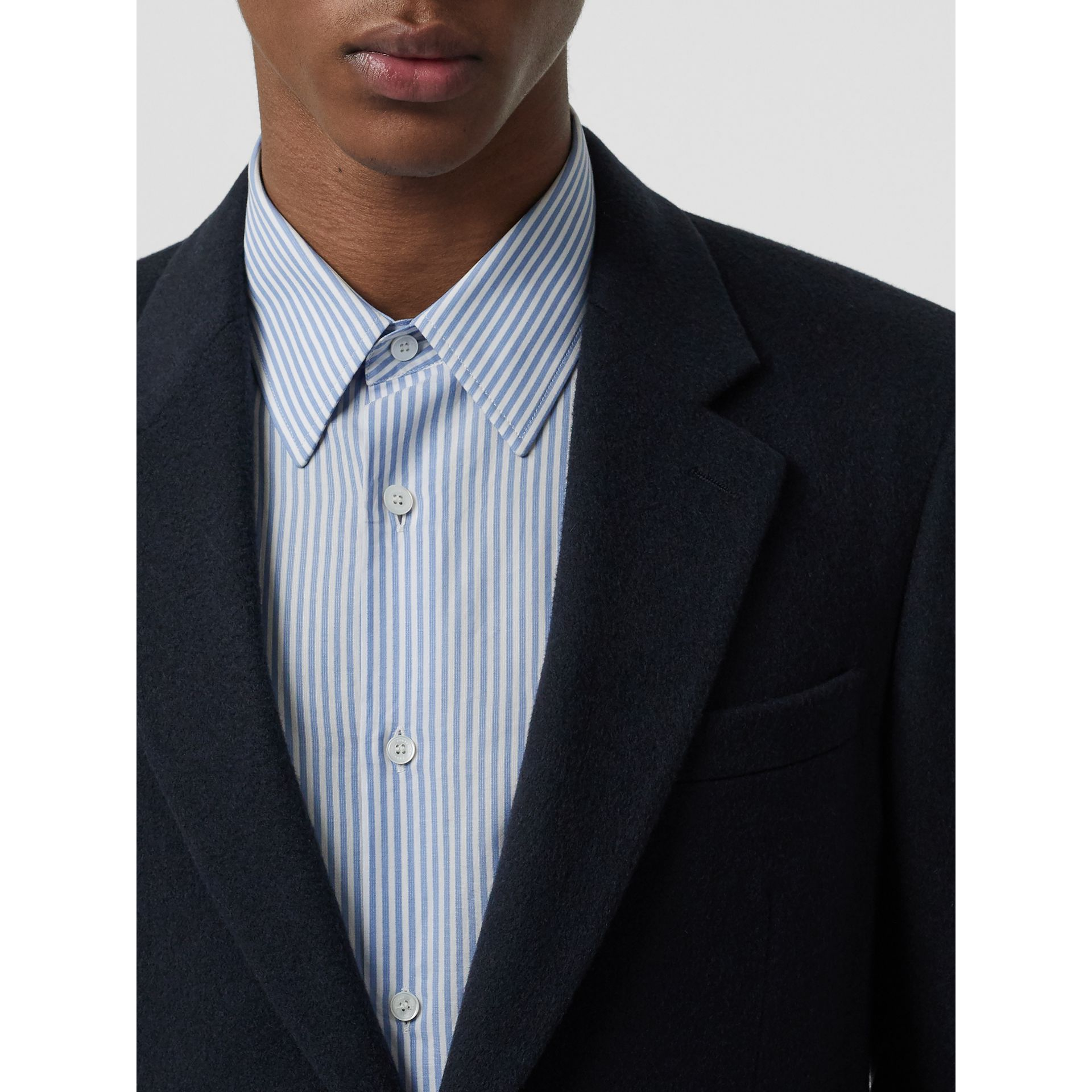 Classic Fit Cashmere Tailored Jacket in Navy Melange - Men | Burberry - gallery image 1