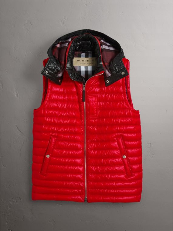 Detachable Hood Packaway Goose-down Gilet in Military Red - Men | Burberry - cell image 3