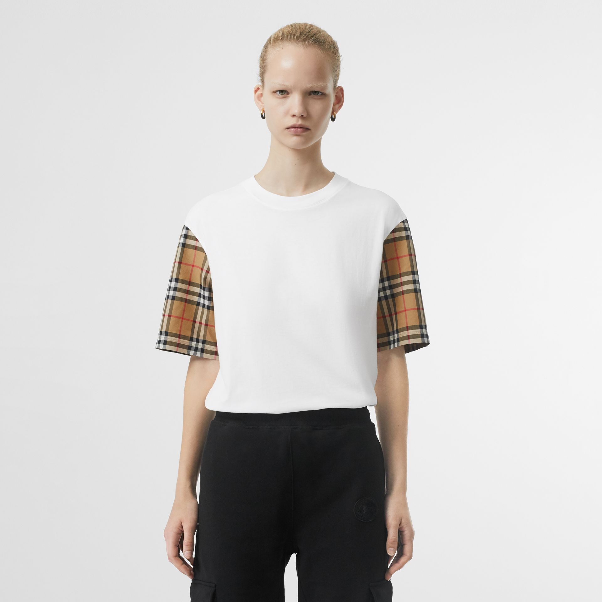 Vintage Check Sleeve Cotton T-shirt in White - Women | Burberry Canada - gallery image 4
