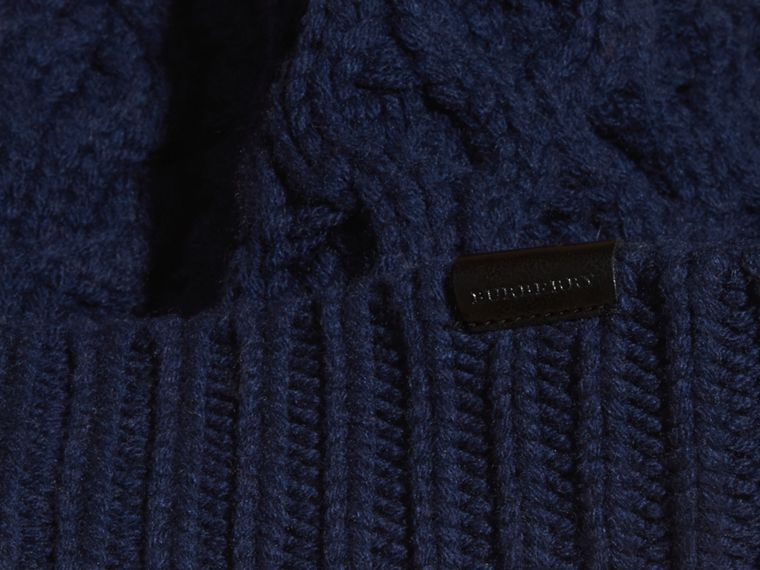 Aran Knit Wool Cashmere Beanie Dark Navy - cell image 2