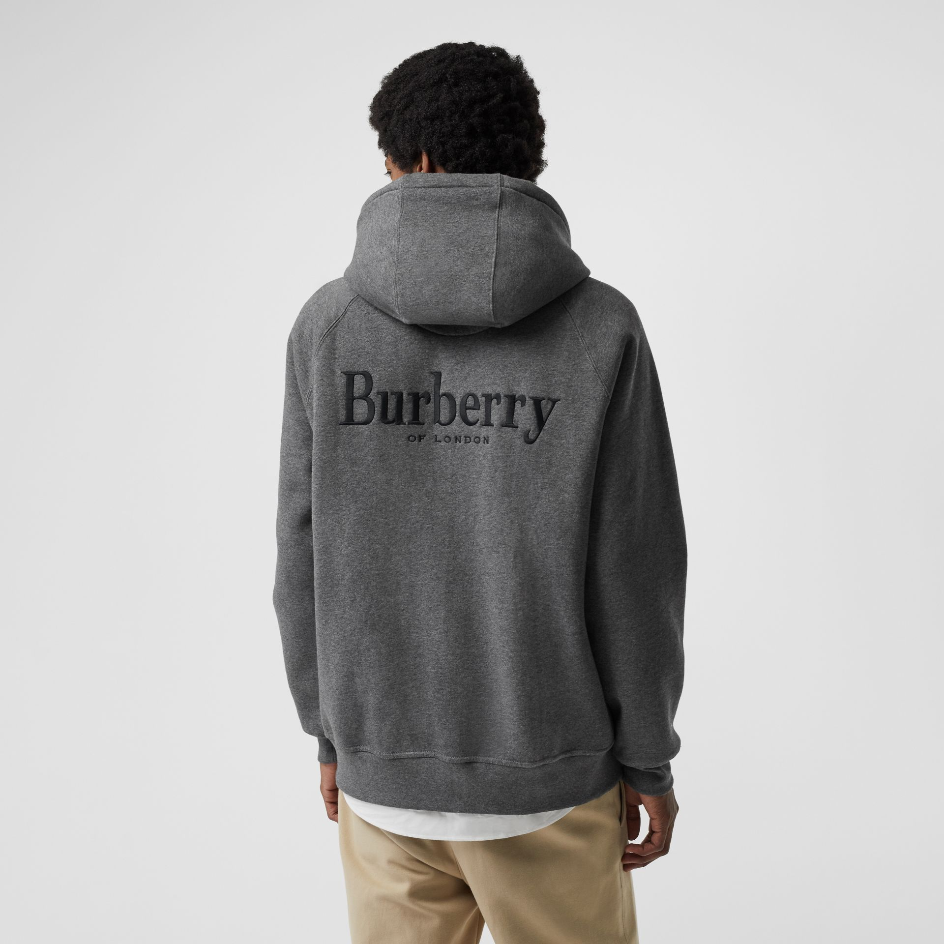 Embroidered Logo Jersey Hooded Top in Mid Grey Melange - Men | Burberry - gallery image 2