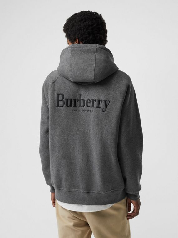 Embroidered Logo Jersey Hooded Top in Mid Grey Melange