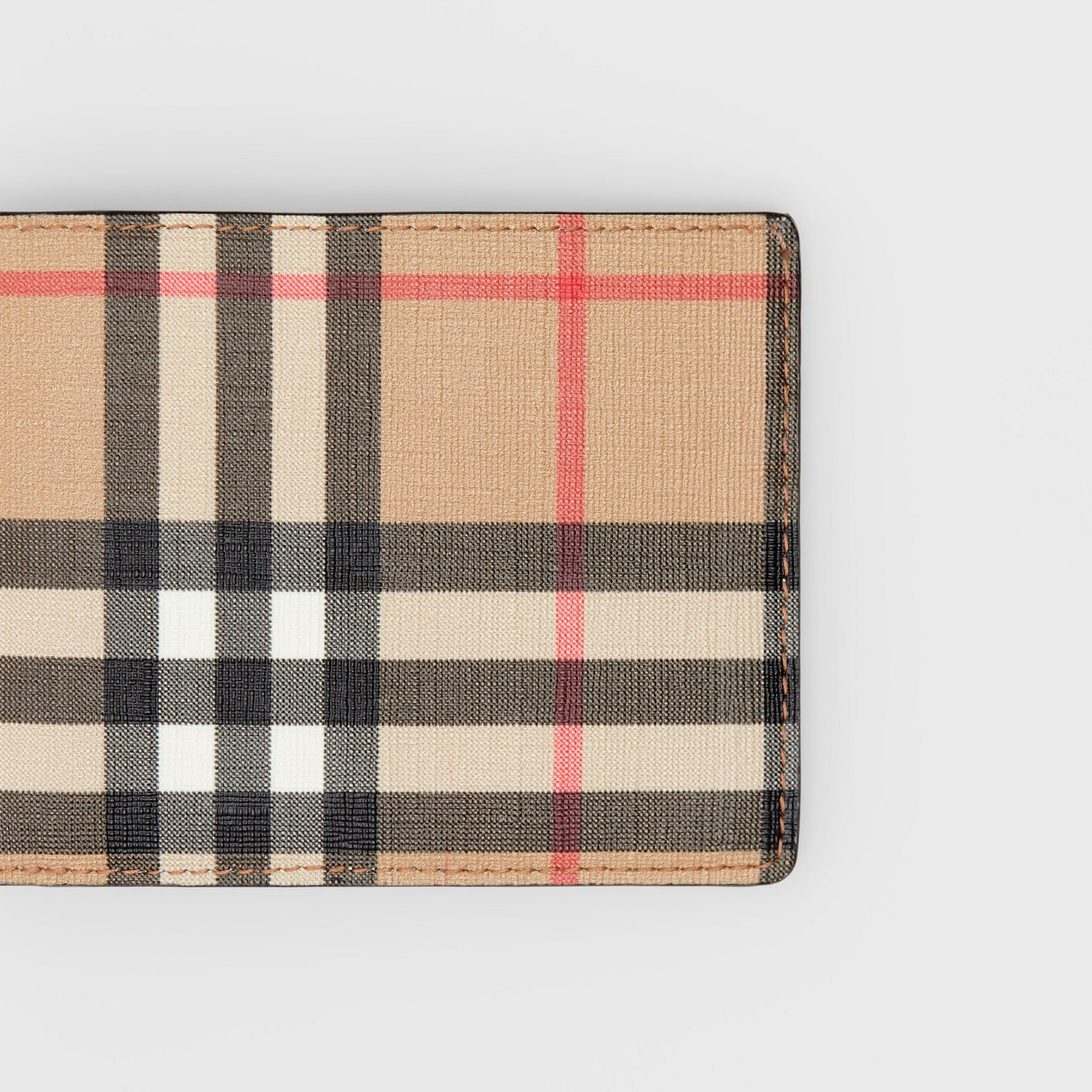 Vintage Check E-canvas and Leather Bifold Wallet in Archive Beige - Men | Burberry - gallery image 1