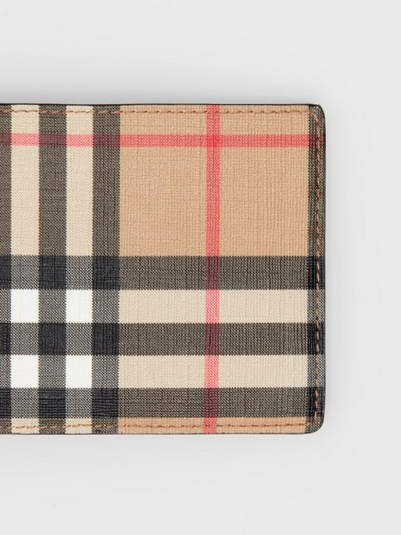 Vintage Check E-canvas and Leather Bifold Wallet in Archive Beige - Men | Burberry - cell image 1
