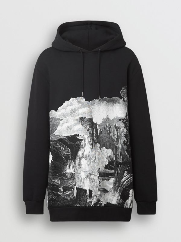Dreamscape Print Cotton Blend Hoodie in Black - Men | Burberry Singapore - cell image 3
