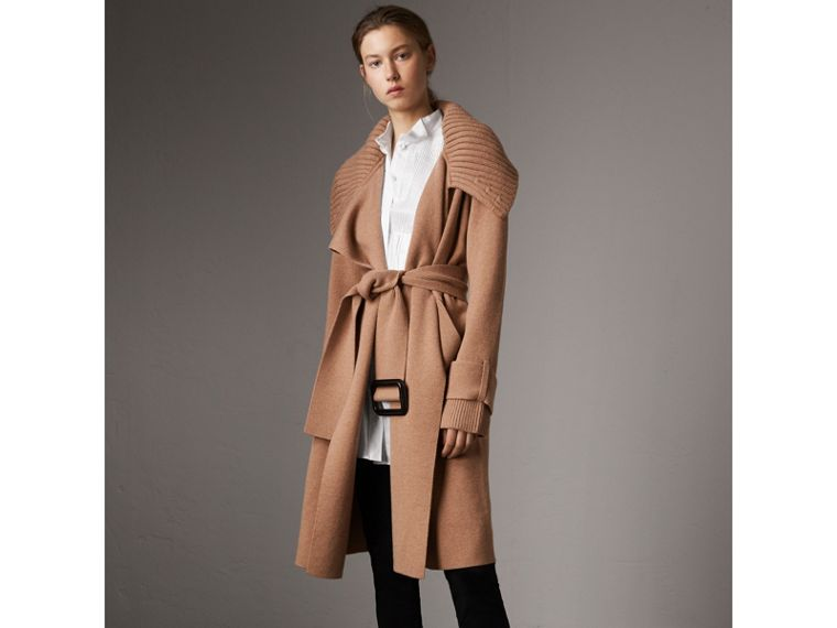 Knitted Wool Cashmere Wrap Coat in Camel - Women | Burberry Australia - cell image 4