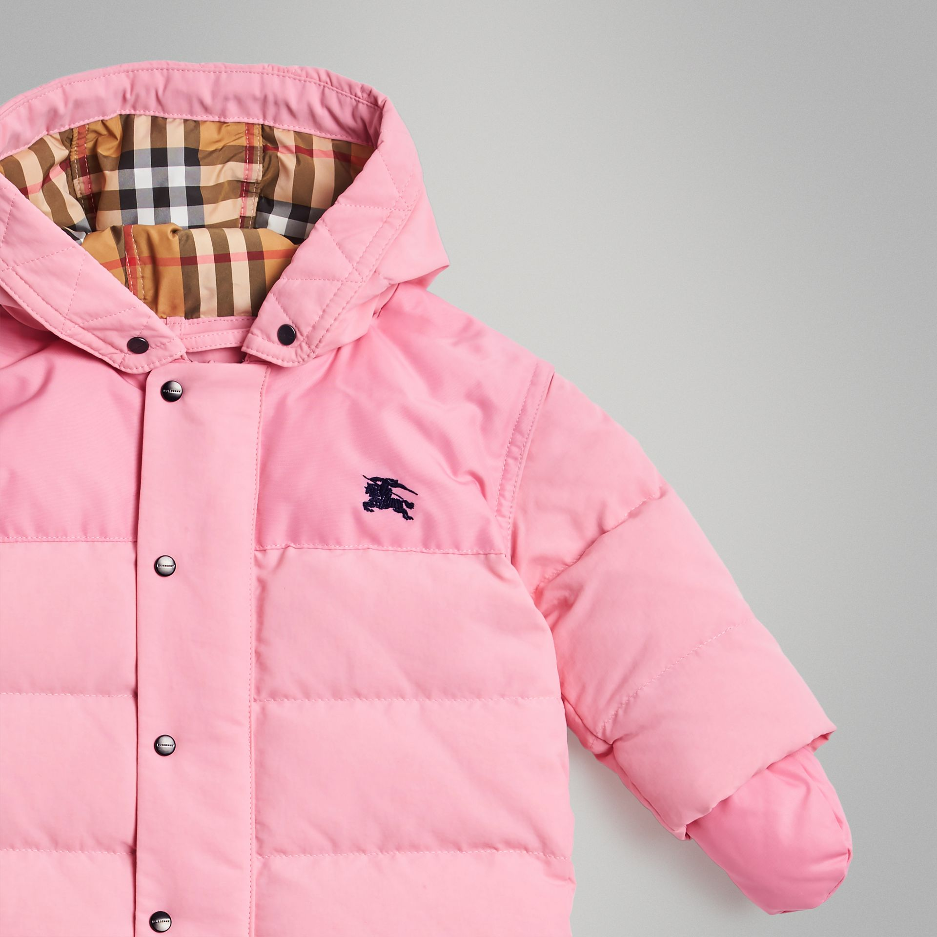 Down-filled Puffer Suit in Ice Pink - Children | Burberry Australia - gallery image 4