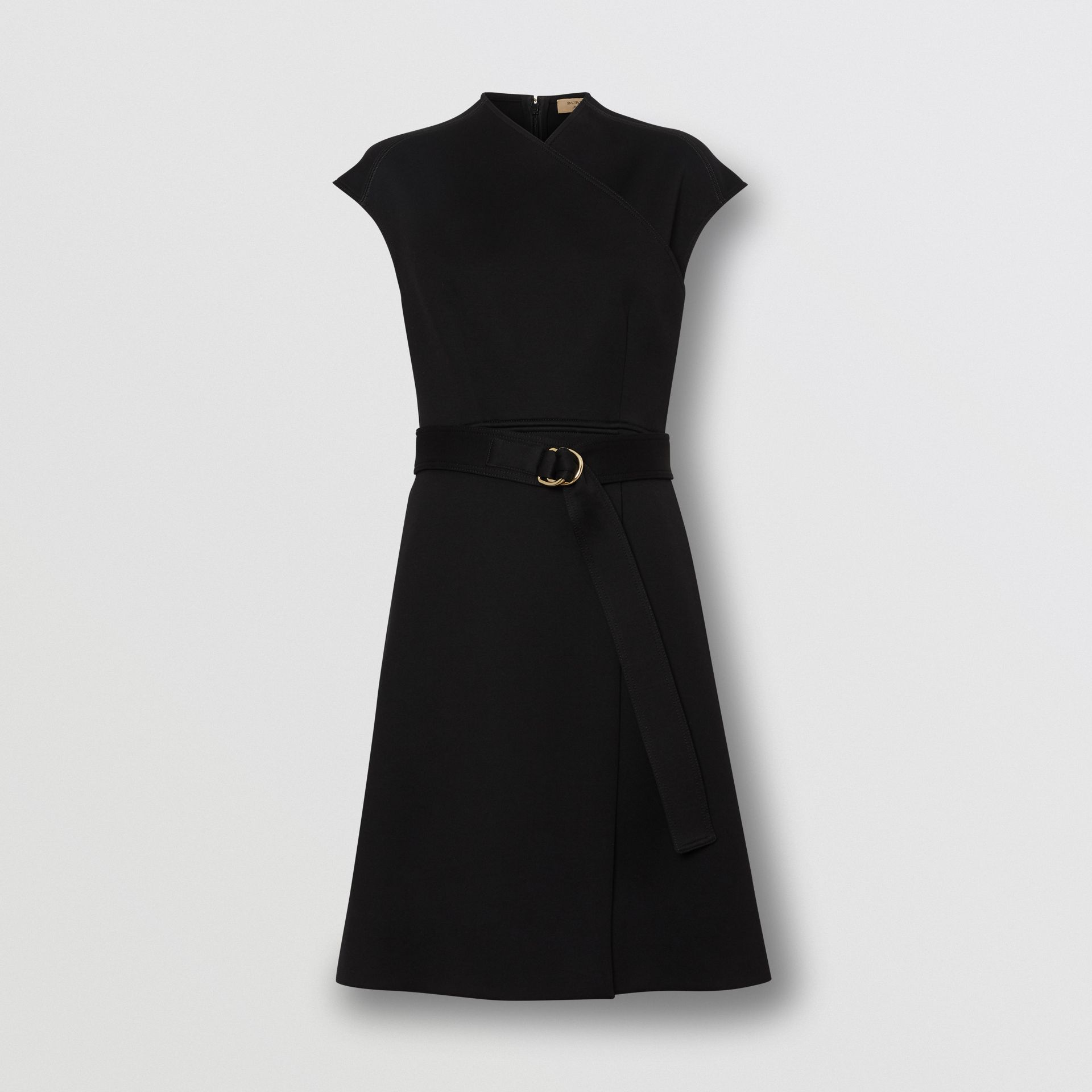 D-ring Detail Bonded Jersey Dress in Black - Women | Burberry - gallery image 3