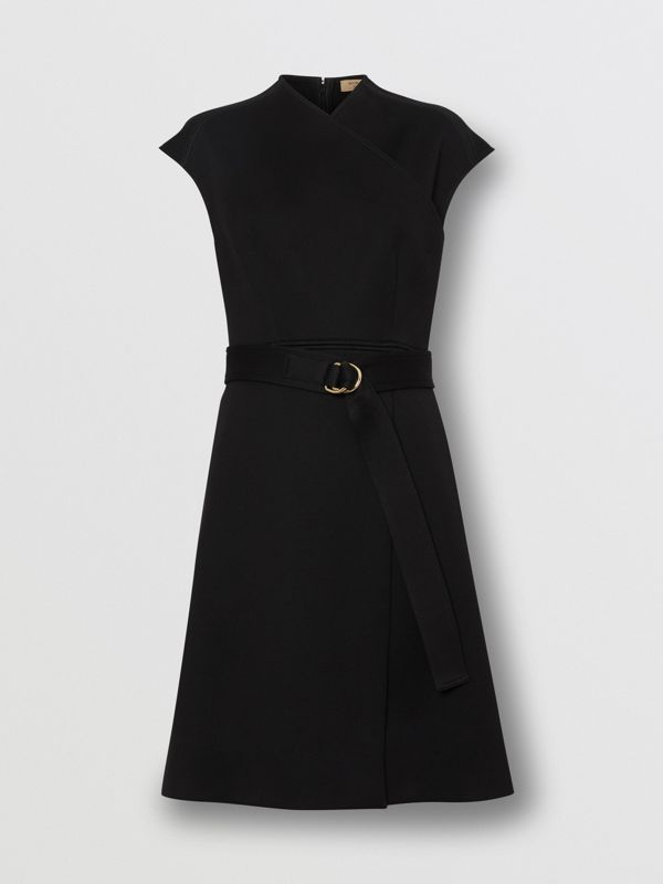 D-ring Detail Bonded Jersey Dress in Black - Women | Burberry United Kingdom - cell image 3