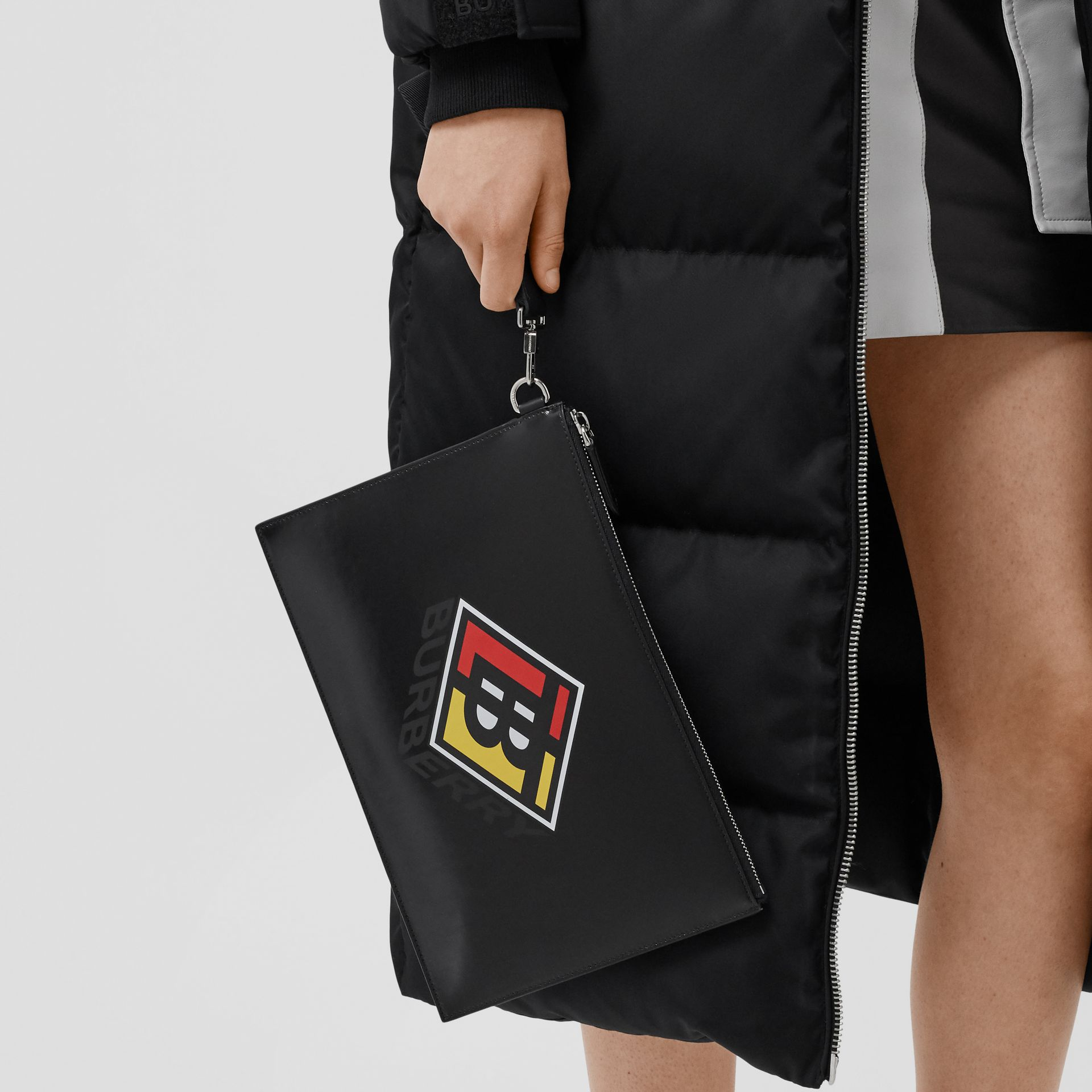 Logo Graphic Canvas Zip Pouch in Black | Burberry - gallery image 2