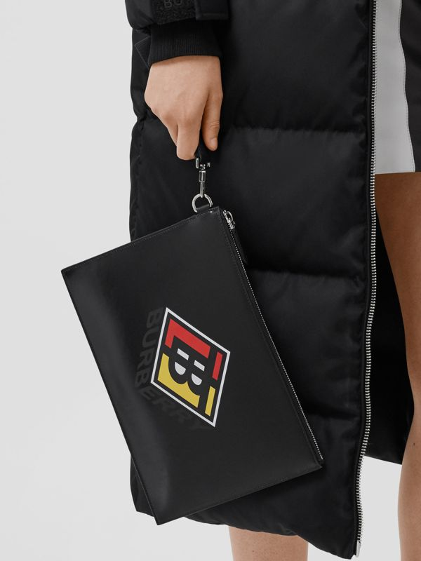 Logo Graphic Canvas Zip Pouch in Black | Burberry - cell image 2