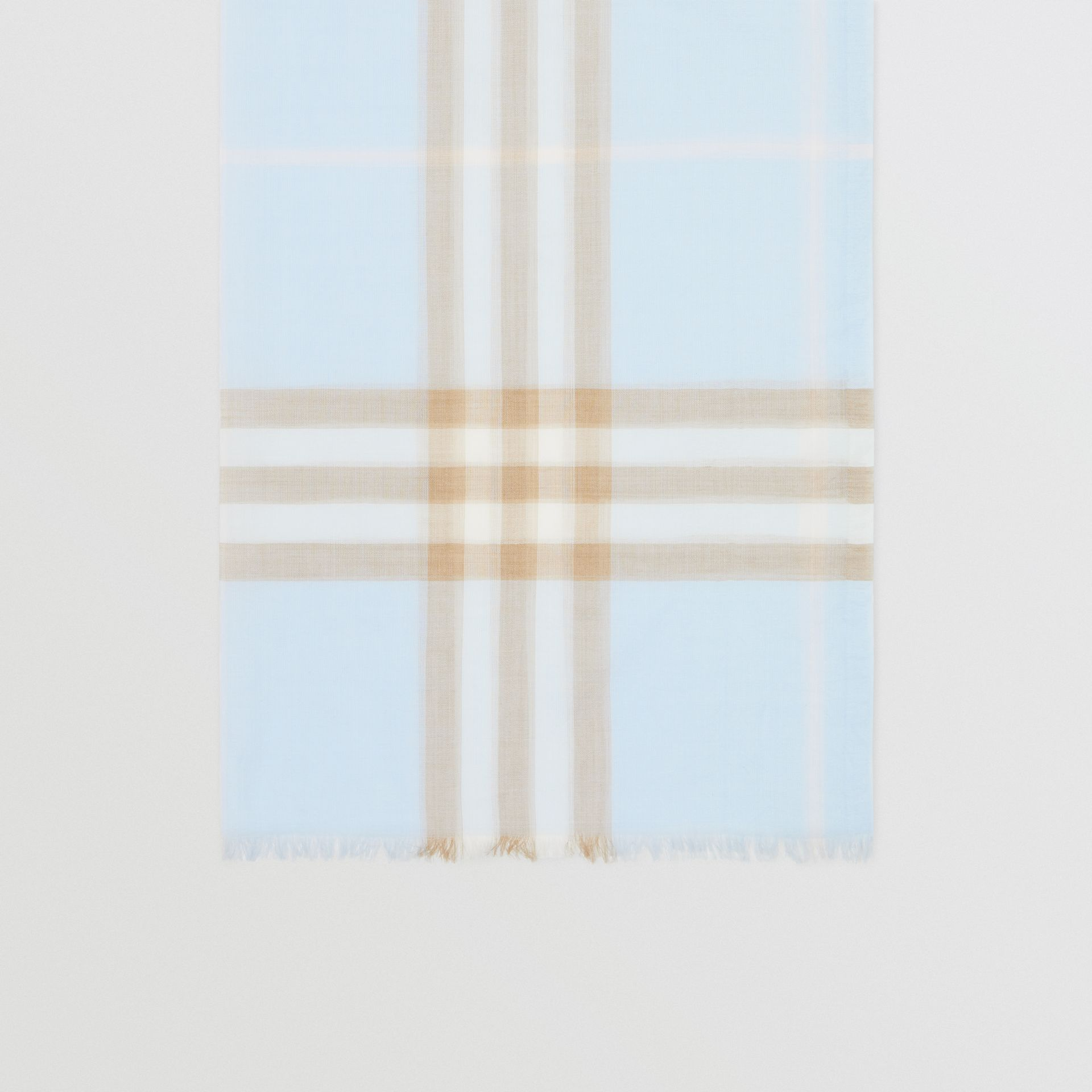 Lightweight Check Wool Silk Scarf in Pale Blue | Burberry - gallery image 4