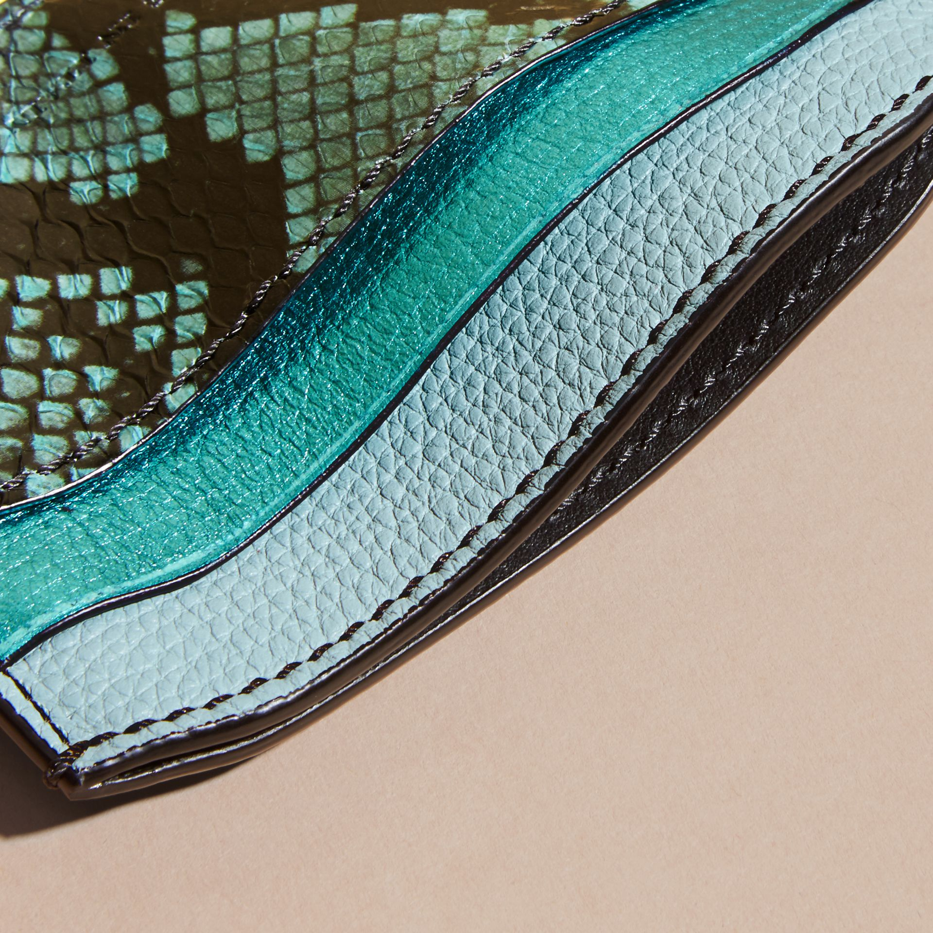 Light mint Colour Block Leather and Snakeskin Card Case Light Mint - gallery image 5