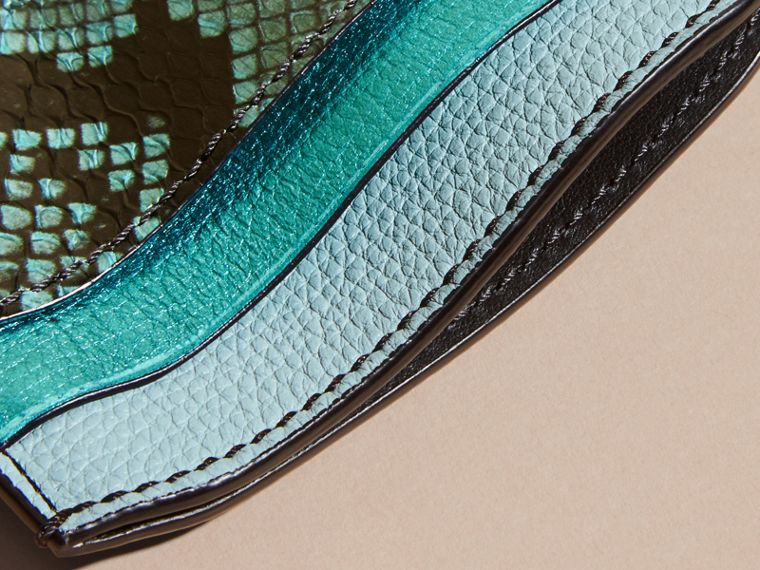 Light mint Colour Block Leather and Snakeskin Card Case Light Mint - cell image 4