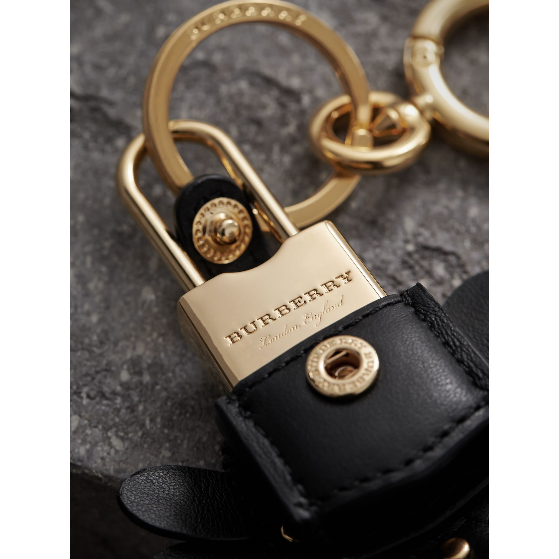 Beasts Leather Key Charm and Padlock in Black - Women | Burberry - gallery image 1