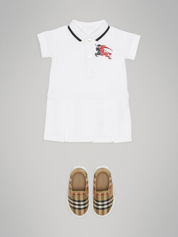 Logo Detail Tipped Cotton Polo Dress in White - Children | Burberry - cell image 2