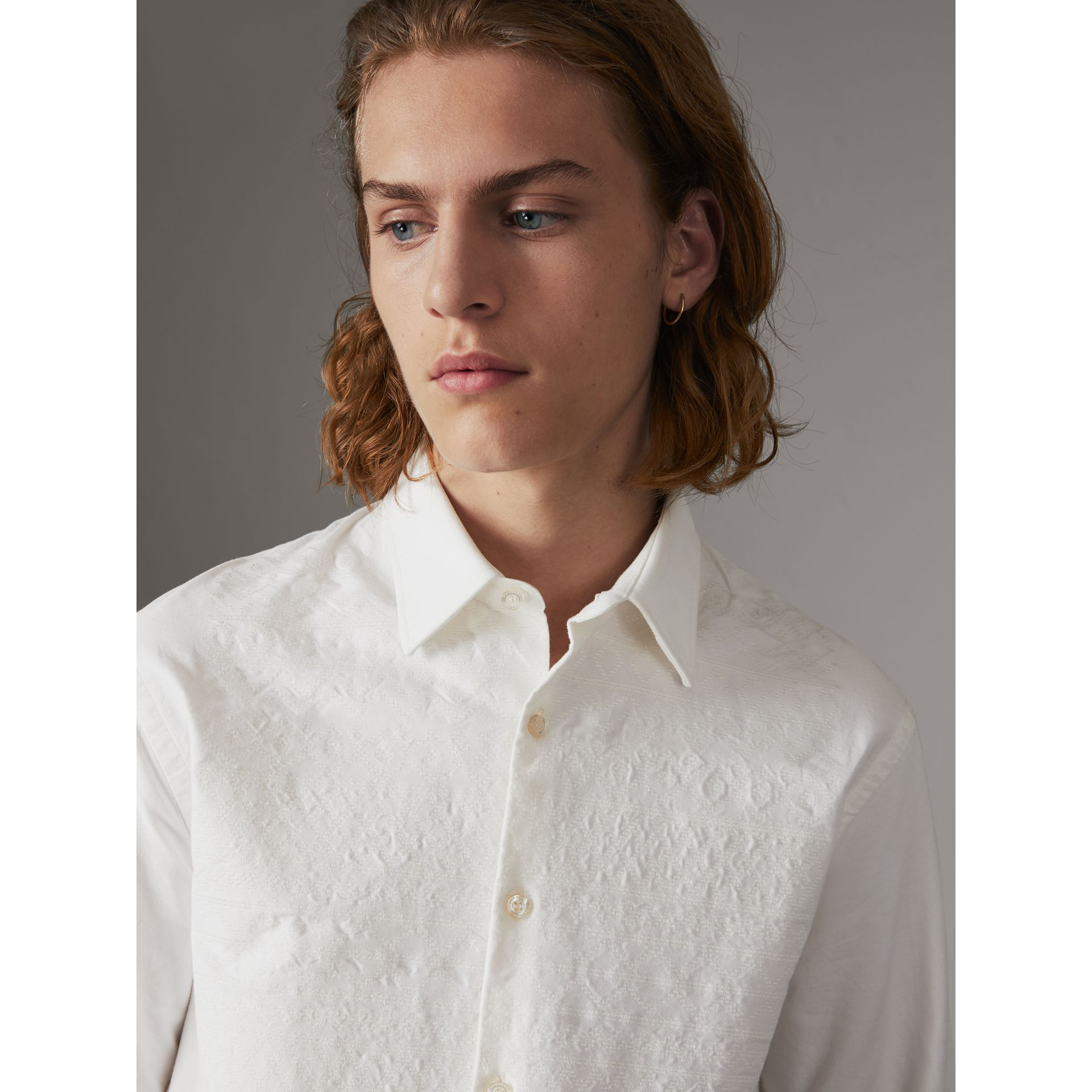 Embroidered Oxford Cotton Longline Shirt in White - Men | Burberry - gallery image 1