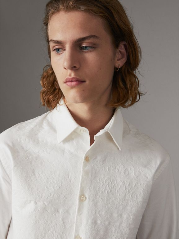 Embroidered Oxford Cotton Longline Shirt in White - Men | Burberry - cell image 1