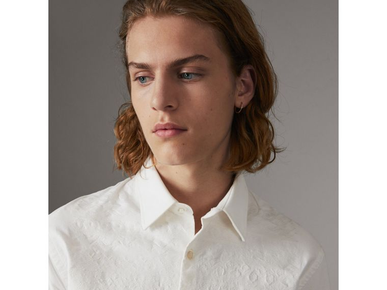 Embroidered Oxford Cotton Longline Shirt in White - Men | Burberry Singapore - cell image 1