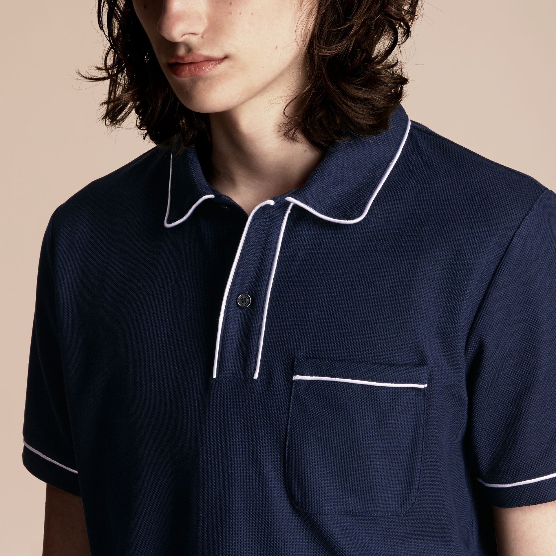 Navy Piped Cotton Piqué Polo Shirt Navy - gallery image 5