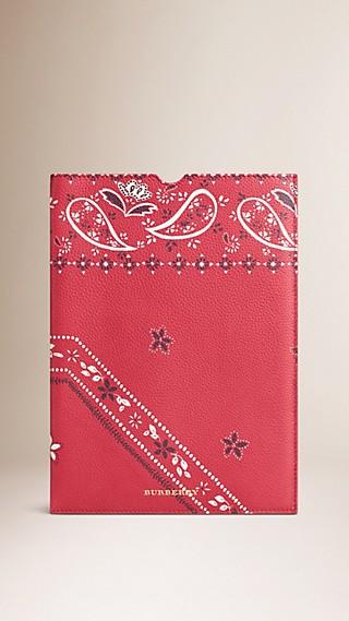 Étui pour iPad en cuir grainé à imprimé floral