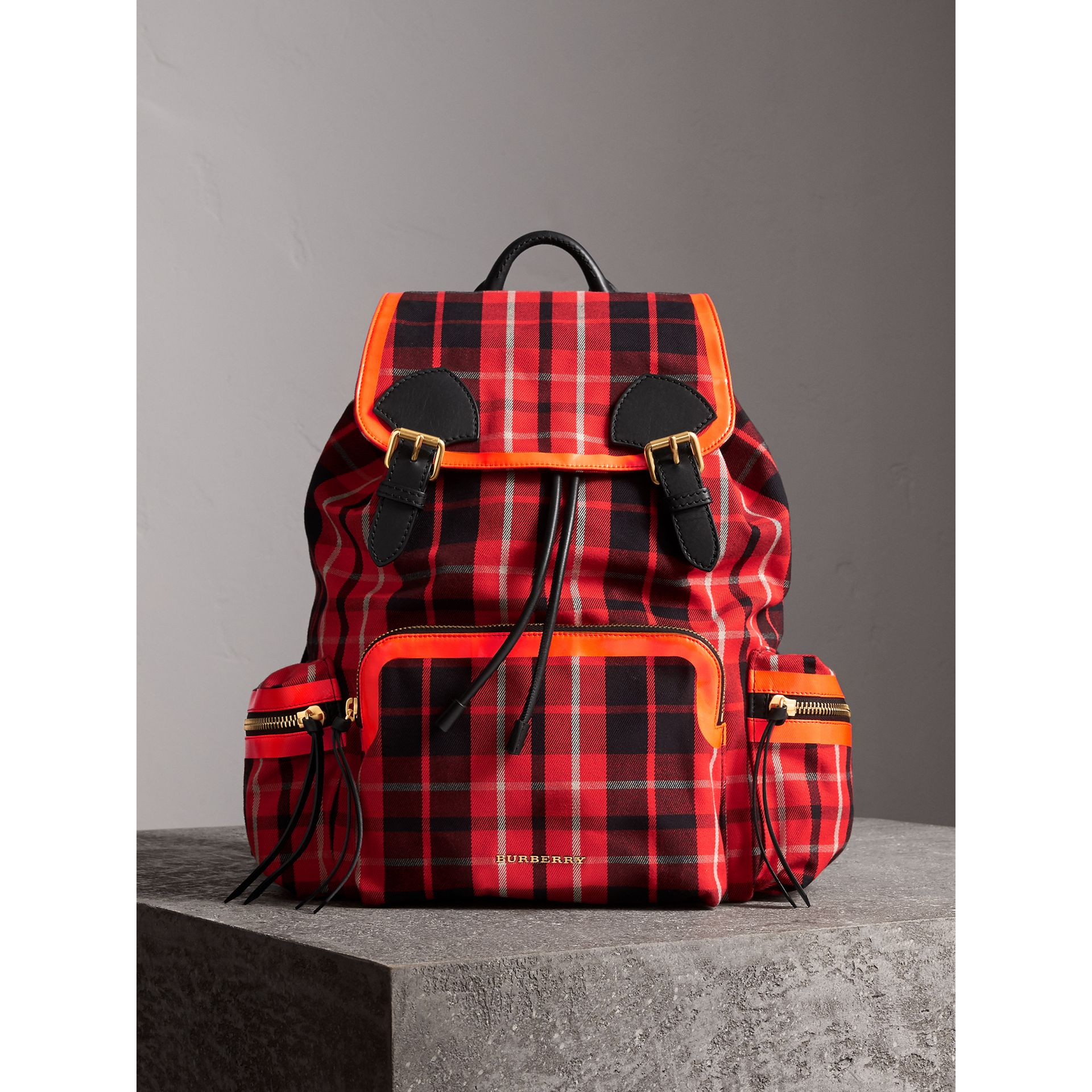The Large Rucksack in Tartan Check Cotton in Vibrant Red | Burberry Canada - gallery image 5
